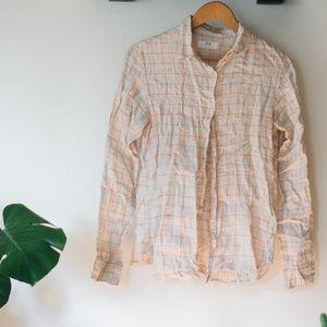Uniqlo linen shirt grid pattern
